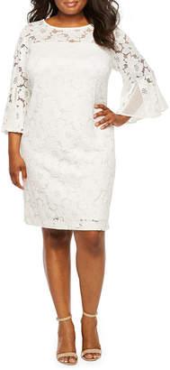 5c334db8ff Studio 1 3 4 Bell Sleeve Lace Shift Dress-Plus