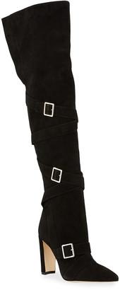 Manolo Blahnik Josimhi Suede Over-The-Knee Boots
