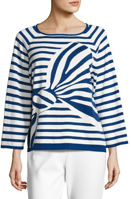 Joan Vass Striped Graphic-Bow Sweater $210 thestylecure.com