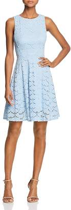 Aqua V-Back Lace Fit-and-Flare Dress - 100% Exclusive