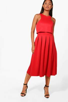 boohoo Lizy Double Layer Midi Length Skater Dress