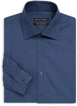 Saks Fifth Avenue BLACK Trim-Fit Textured Cotton Dress Shirt