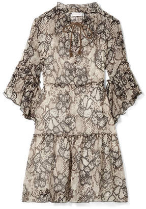 See by Chloe Floral-print Cotton And Silk-blend Crepon Dress - Beige