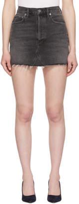 A Gold E Agolde Black Quinn Miniskirt