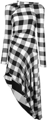 Monse checked asymmetric midi dress