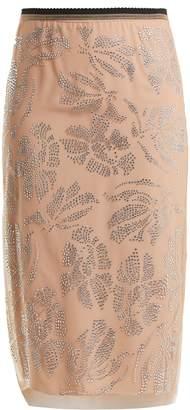 No.21 NO. 21 Floral crystal-embellished tulle pencil skirt