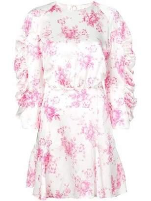 Les Rêveries Godet Ruche Floral Mini Dress