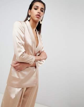 Asos Design Tailored Occasion Satin Single Breasted Blazer