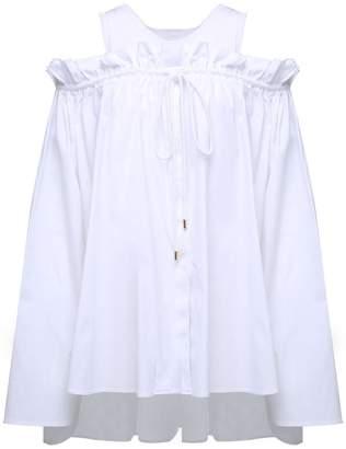 Alberta Ferretti Frilled Off-the-shoulder Cotton-poplin Shirt