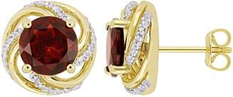 Sterling & 14K 4.30 cttw Garnet & White Topaz Stud Earrings