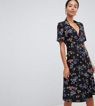 Influence Tall floral button down midi shirt dress