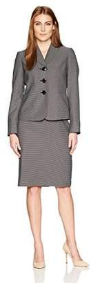 Le Suit Women's Pin Dot 3 Button Shawl Collar Skirt Suit
