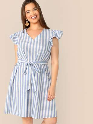 897d23a64b Shein Plus Layered Ruffle Detail Belted Striped Dress