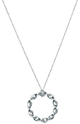 Adina Circle Twist Necklace in Silver -