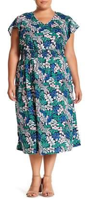 Joe Fresh Floral V-Neck Midi Dress (Plus Size)