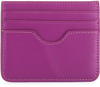 Neiman Marcus Small Flat Saffiano Leather Card Case