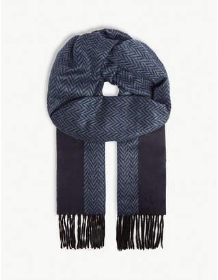 Corneliani Herringbone silk and cashmere-blend scarf