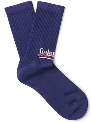 Balenciaga Intarsia Stretch Cotton-Blend Socks