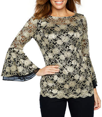 Onyx Nites Long Bell Sleeve Boat Neck Lace Blouse