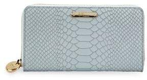 GiGi New York Large Embossed Python Zip-Around Wallet