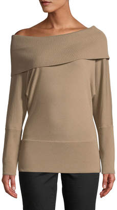 Lafayette 148 New York Off-the-Shoulder Wool Long-Sleeve Top