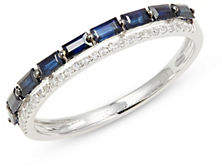 Effy Royale Bleu 14K White Gold, Natural Sapphire 0.09 TCW Diamond Ring