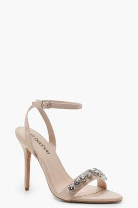boohoo Diamante Strap 2 Part Heels