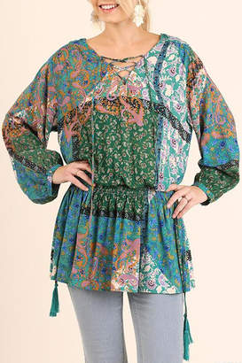 Umgee USA Print Front Tie Tunic