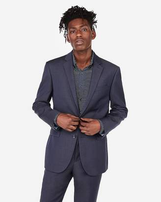Express Slim Navy Flannel Wool-Blend 365 Comfort Suit Jacket