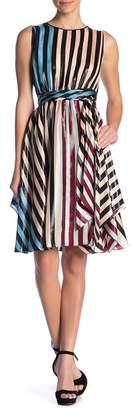 Diane von Furstenberg Tie Waist Metallic Silk Dress