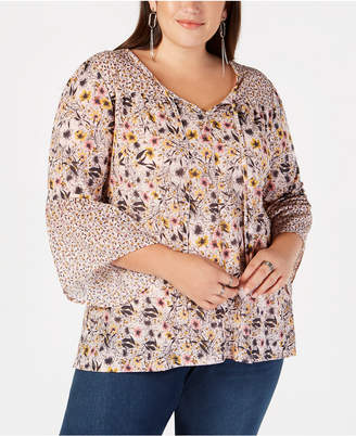 Style&Co. Style & Co Plus Size Mixed-Print Lantern-Sleeve Peasant Top