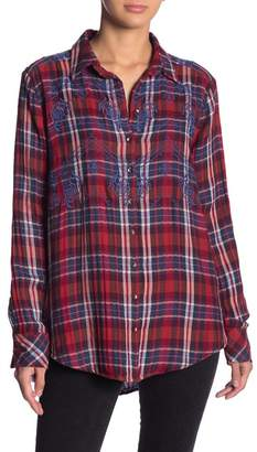 Free People Magical Plaid Embroidered Shirt