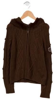 Miss Blumarine Girls' Fur-Trimmed Cable Knit Cardigan