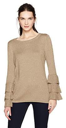 Calvin Klein Women's Lurex Crewneck with Tri-Ruffle Sleeve