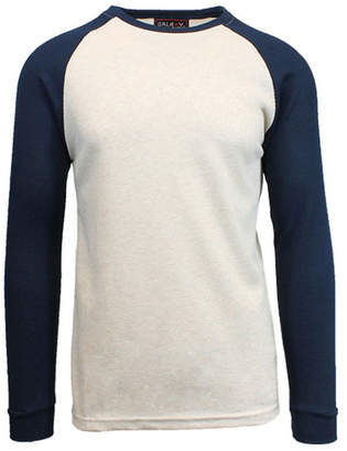 Galaxy By Harvic Men Long Sleeve Thermal Shirt with Contrast Raglan Trim on Sleeves
