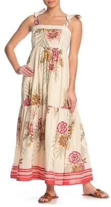 Yumi Star Lorena Metallic Stripe Floral Print Embroidery Maxi Dress
