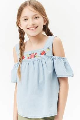 Forever 21 Girls Embroidered Open-Shoulder Chambray Top (Kids)