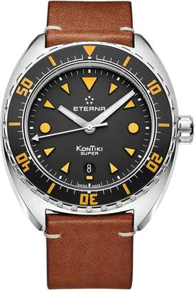 Eterna Men's Super Kontiki 45mm Leather Band Automatic Watch 1273-41-49-1363
