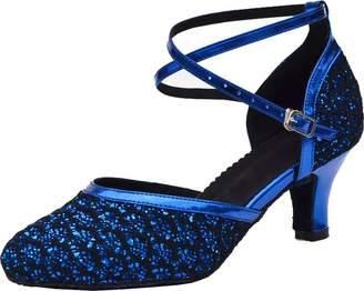 ABBY Products Abby Womens Latin Tango Ballroom Party Wedding Block Heel Round-Toe PU Dance-Shoes US Size6.5