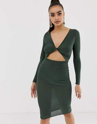 Missguided slinky twist front midi dress in khaki