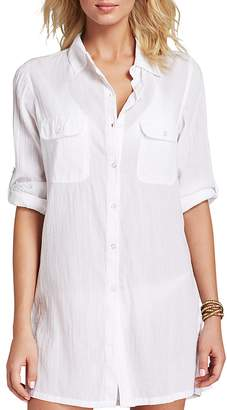 Lauren Ralph Lauren Crushed Cotton Camp Shirt Swim Cover-Up $86 thestylecure.com
