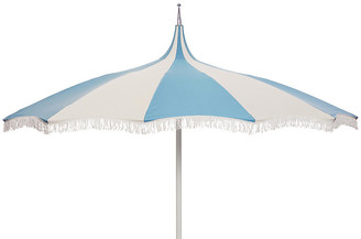 ... One Kings Lane Ari Pagoda Fringe Patio Umbrella   Light Blue/White