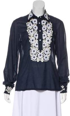 Tory Burch Embroidered Long Sleeve Top