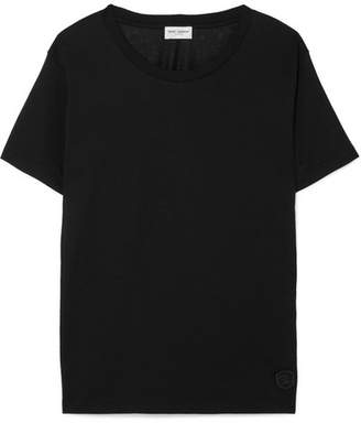 Saint Laurent Appliquéd Cotton-jersey T-shirt - Black