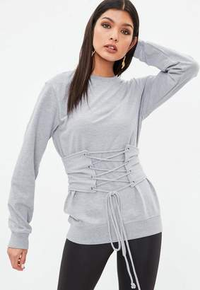 Missguided Grey Corset Belt Detail Sweatshirt, Grey