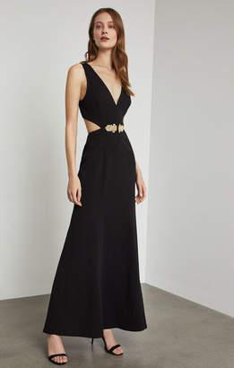 BCBGMAXAZRIA Brooch-Trimmed Cutout Gown
