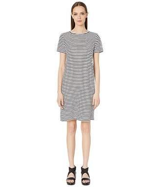 Eileen Fisher Organic Linen Jersey Stripe Round Neck Dress