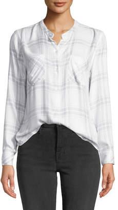 Rails Allison Plaid Band-Collar Button-Down Top