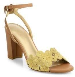 Stuart Weitzman Chainreaction Leather Block Heel Sandals