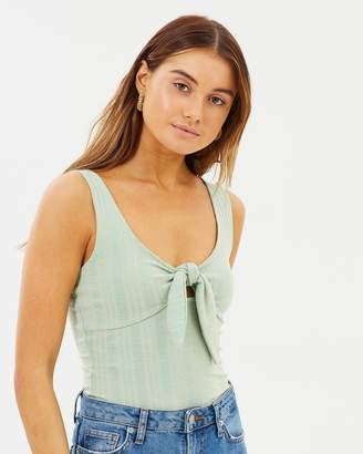 MinkPink Remedy Tie Front Ribbed Top